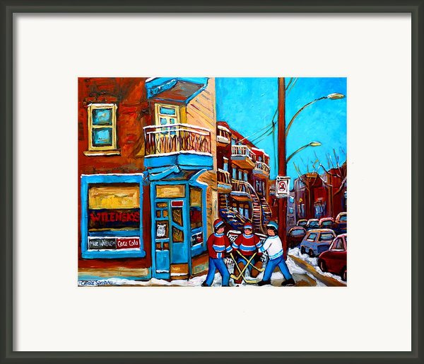 Montreal City Scene Hockey At Wilenskys Framed Print By Carole Spandau