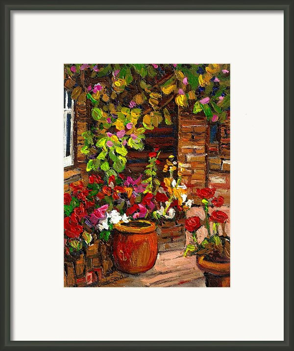 Montreal Cityscenes Homes And Gardens Framed Print By Carole Spandau
