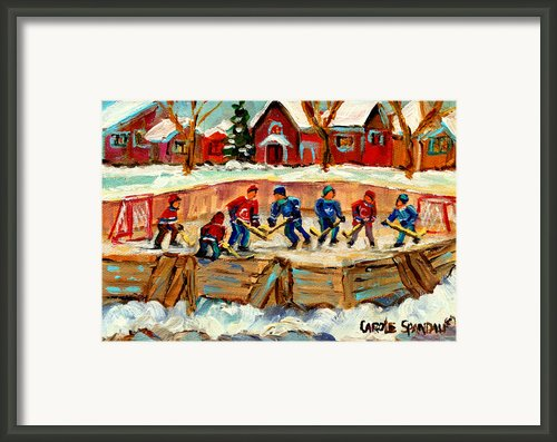 Montreal Hockey Rinks Urban Scene Framed Print By Carole Spandau