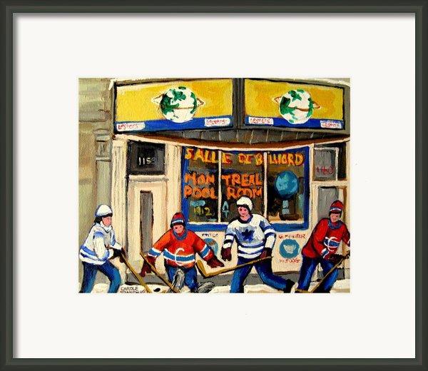 Montreal Poolroom Hockey Fans Framed Print By Carole Spandau