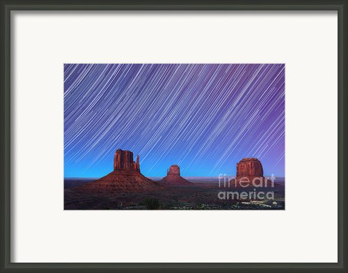 Monument Valley Star Trails  Framed Print By Jane Rix