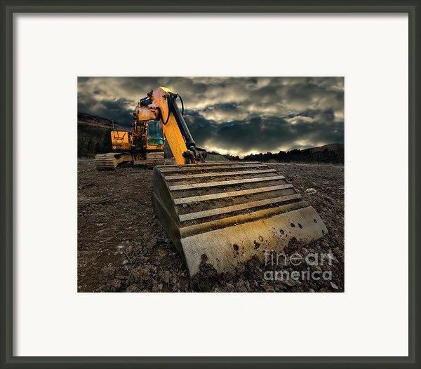 Moody Excavator Framed Print By Meirion Matthias