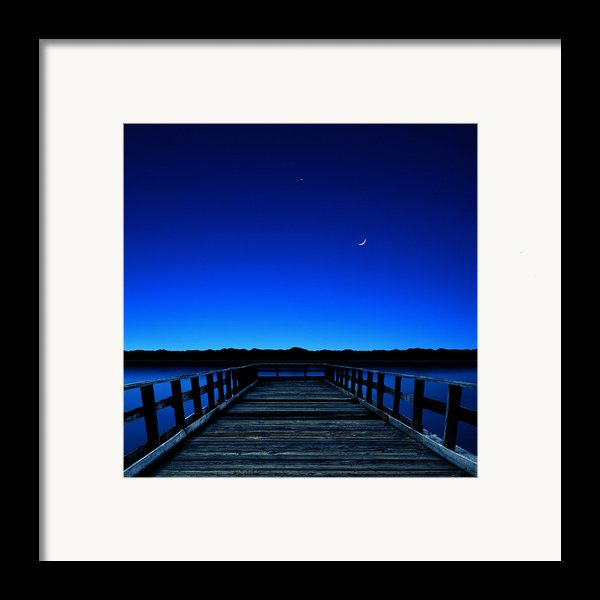 Moon And Venus In The Blue Framed Print By Carlos Gotay
