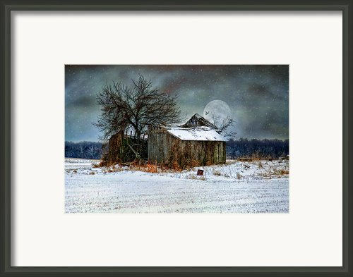 Moon Light Barn Framed Print By Mary Timman