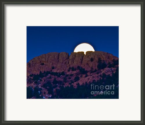Moon Setting Behind Horsetooth Rock Framed Print By Harry Strharsky