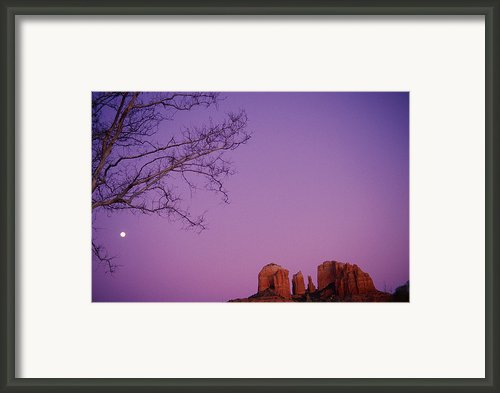 Moonrise Over Oak Creek Canyon Framed Print By Stockbyte