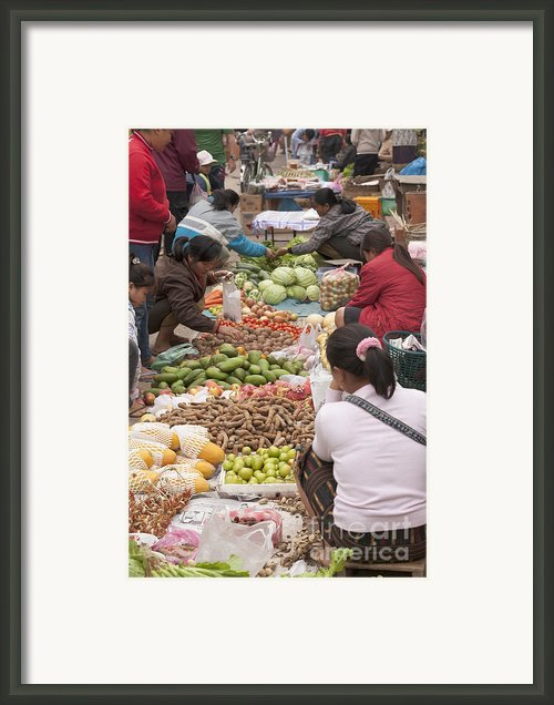 Morning Market In Luang Prabang Framed Print By Stefano Baldini