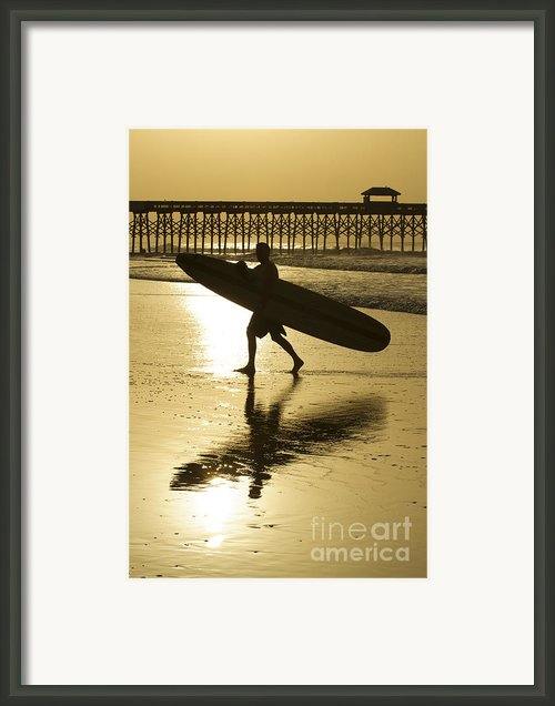 Morning Session Longboard Surfing Folly Beach Sc  Framed Print By Dustin K Ryan