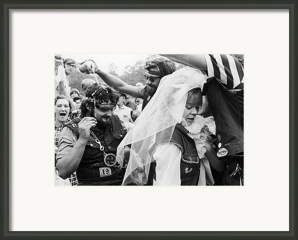 Motorcycle Club Wedding Framed Print By Granger
