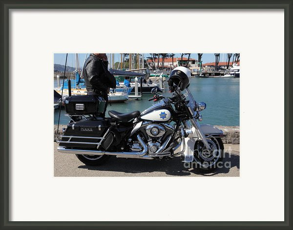 Motorcycle Police At The San Francisco Marina - 5d18266 Framed Print By Wingsdomain Art And Photography