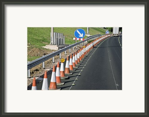 Motorway Traffic Cones Framed Print By Linda Wright