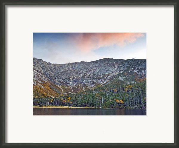 Mount Katahdin From Chimney Pond In Baxter State Park Maine Framed Print By Brendan Reals