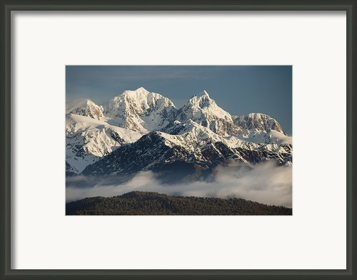 Mount Tasman And Mount Cook Southern Framed Print By Colin Monteath