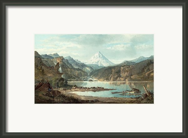 Mountain Landscape With Indians Framed Print By John Mix Stanley
