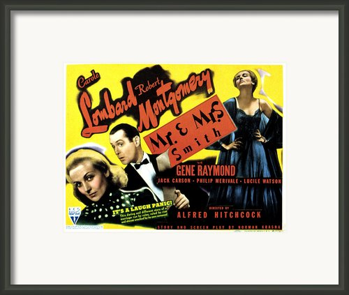 Mr. And Mrs. Smith, Carole Lombard Framed Print By Everett