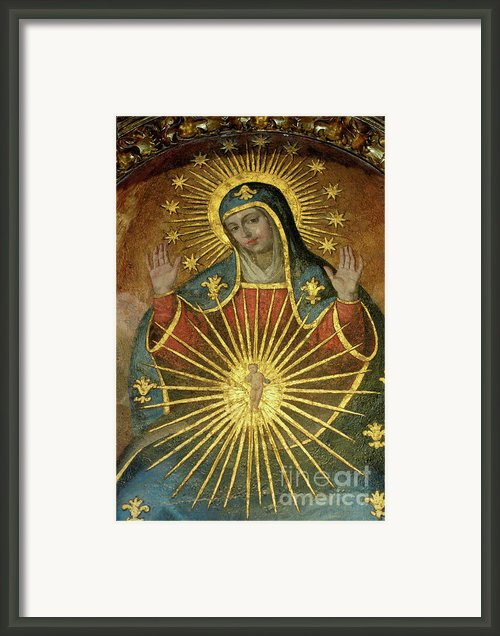 Mural Depicting The Virgin Mary Inside The Catedral De Cordoba Framed Print By Sami Sarkis