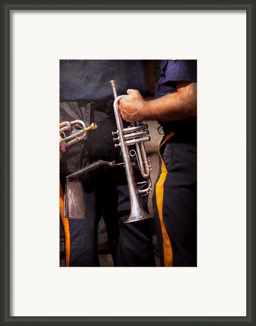 Music - Trumpet - Police Marching Band  Framed Print By Mike Savad