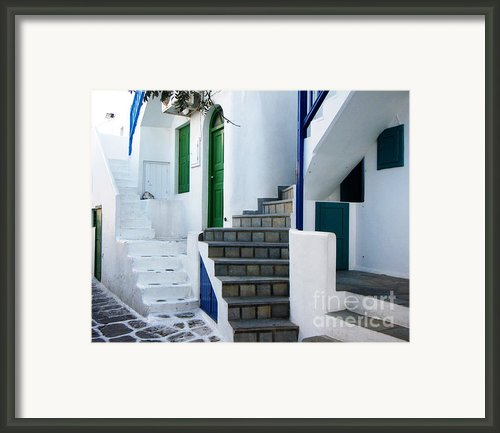 Mykonos Stairs Framed Print By Rebecca Margraf