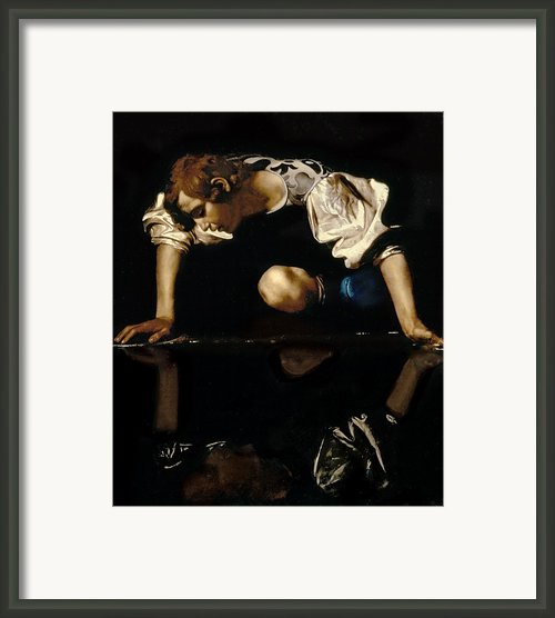 Narcissus Framed Print By Caravaggio