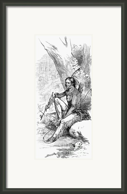 Native American With Pipe Framed Print By Granger
