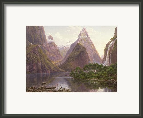 Native Figures In A Canoe At Milford Sound Framed Print By Eugen Von Guerard