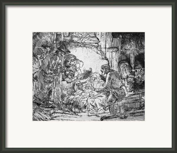Nativity Framed Print By Rembrandt