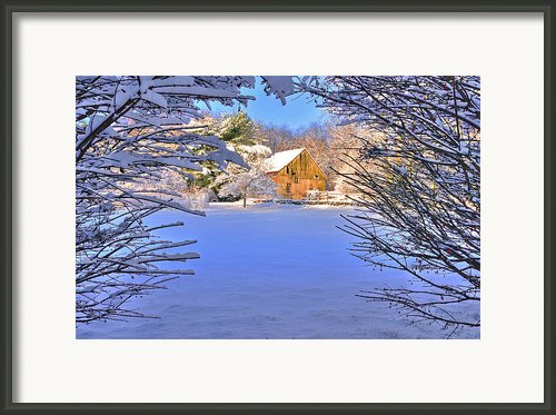 Natural Wreath-winter Barn Scene Framed Print By Thomas Schoeller
