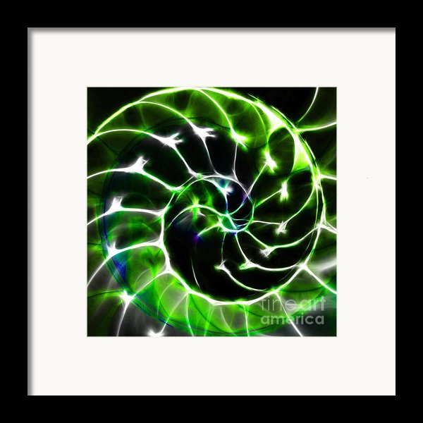 Nautilus Shell Ying And Yang - Electric - V1 - Green Framed Print By Wingsdomain Art And Photography