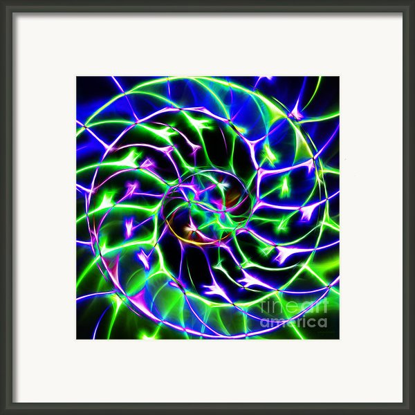 Nautilus Shell Ying And Yang - Electric - V2 - Blue-green Framed Print By Wingsdomain Art And Photography