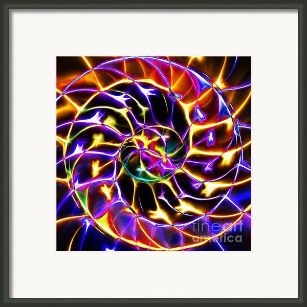 Nautilus Shell Ying And Yang - Electric - V2 - Yellow-purple Framed Print By Wingsdomain Art And Photography