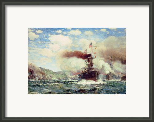 Naval Battle Explosion Framed Print By James Gale Tyler