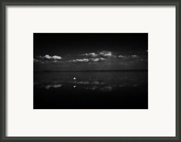 Navigation Warning Marker On Still Lough Neagh County Antrim Northern Ireland  Framed Print By Joe Fox
