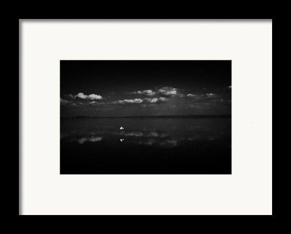 Navigation Warning Marker On Still Lough Neagh County Antrim Northern Ireland  Framed Print By Joe Fox