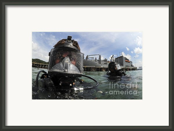 Navy Diver Wearing A Mk-20 Diving Mask Framed Print By Stocktrek Images