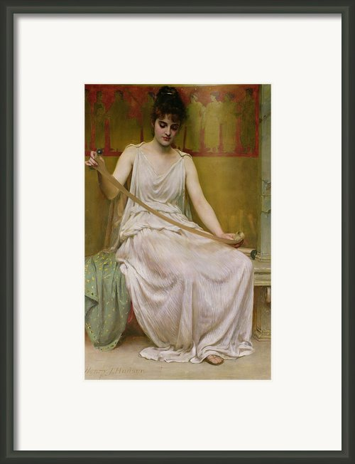Neaera Reading A Letter From Catullus Framed Print By Henry John Hudson