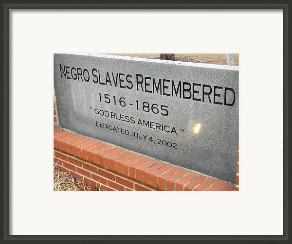 Negro Slaves Remembered Framed Print By Warren Thompson