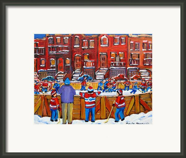 Neighborhood  Hockey Rink Framed Print By Carole Spandau