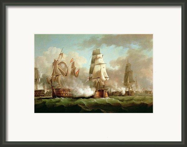 Neptune Engaging Trafalgar Framed Print By J Francis Sartorius