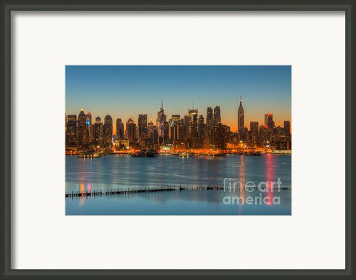 New York City Skyline Morning Twilight Iii Framed Print By Clarence Holmes