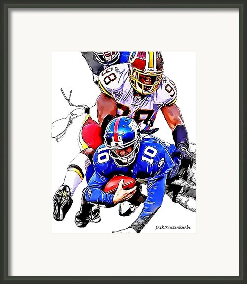 New York Giants Eli Manning -san Francisco 49ers Parys Haralson Framed Print By Jack Kurzenknabe