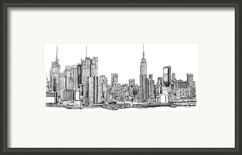 New York Skyline In Ink Framed Print By Lee-ann Adendorff