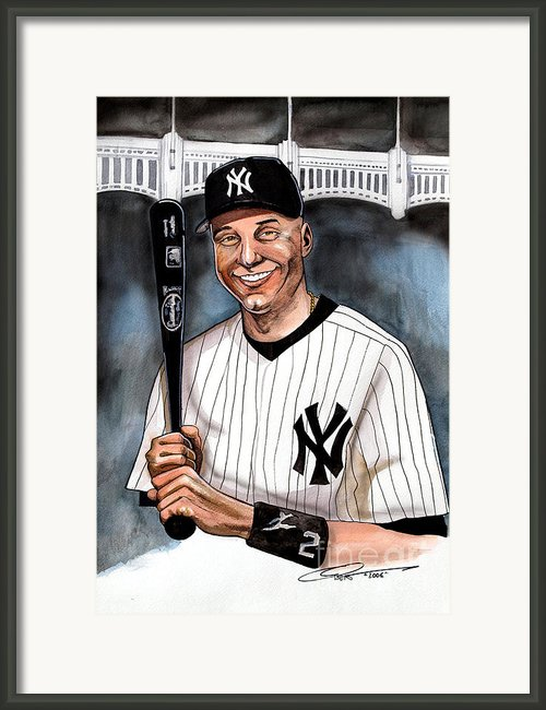 New York Yankee Derek Jeter Framed Print By Dave Olsen