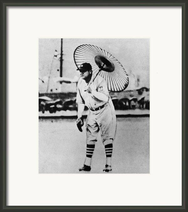 New York Yankees. Babe Ruth, Holding Framed Print By Everett