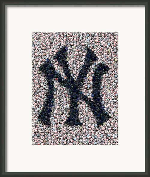 New York Yankees Bottle Cap Mosaic Framed Print By Paul Van Scott