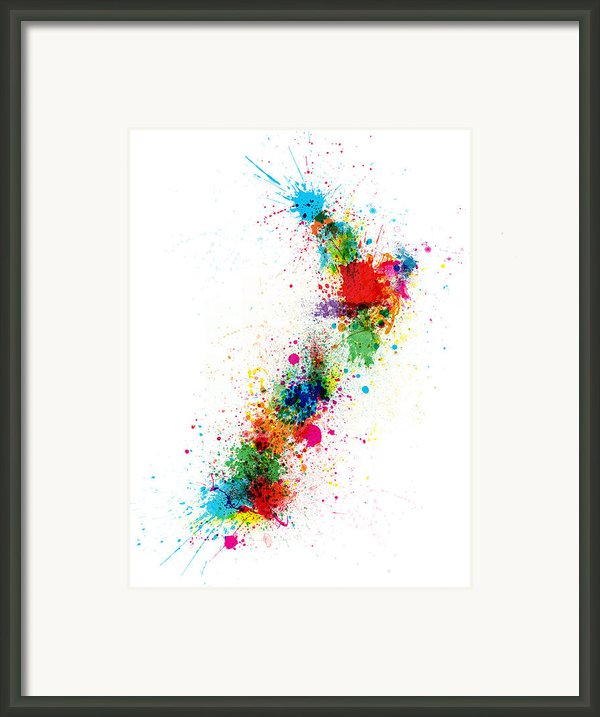 New Zealand Paint Splashes Map Framed Print By Michael Tompsett