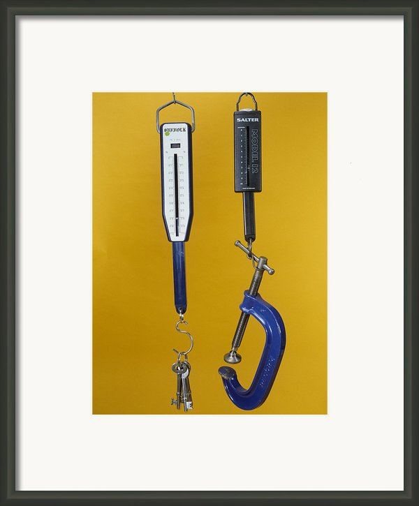 Newton Meters Weighing Objects Framed Print By Andrew Lambert Photography