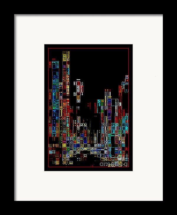 Night On The Town - Digital Art Framed Print By Carol Groenen