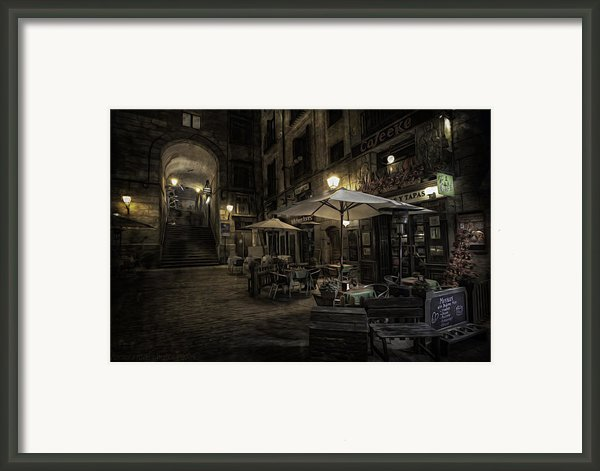 Night Plaza Framed Print By Torkil Storli