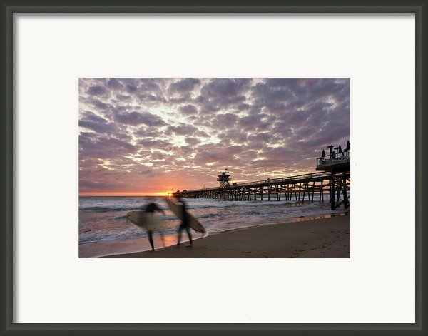 Night Surfing Framed Print By Gary Zuercher