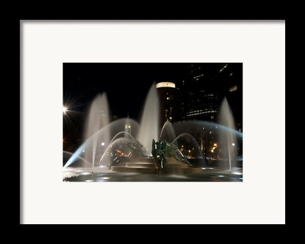 Night View Of Swann Fountain Framed Print By Bill Cannon